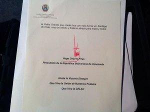 La firma de Chávez en la carta a la Celac (Foto)