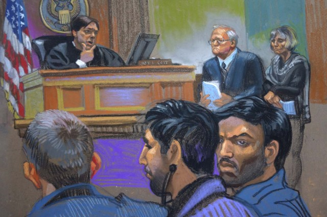 """Judge James Cott (L), attorneys John J. Reilly (C) and Rebekah J. Poston (R) with defendants Efrain Antonio Campo Flores (foreground, R) and Franqui Francisco Flores de Freitas (foreground, C) during a hearing in U.S. district court in the Manhattan borough of New York in this courtroom sketch from November 12, 2015. The defendants, who are two of Venezuelan President Nicolas Maduro's relatives, have been indicted in the United States for cocaine smuggling, according to court papers on Thursday, following an international sting that Venezuela cast as an """"imperialist"""" attack. Picture sketched November 12, 2015. REUTERS/Christine Cornell       TPX IMAGES OF THE DAY     FOR EDITORIAL USE ONLY. NO RESALES. NO ARCHIVE. FOR EDITORIAL USE ONLY. NOT FOR SALE FOR MARKETING OR ADVERTISING CAMPAIGNS."""