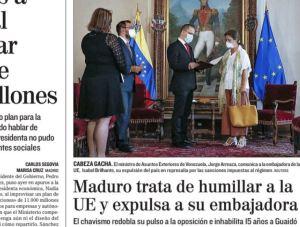 Diario El Mundo retrató en su portada el intento de Maduro de humillar a Europa