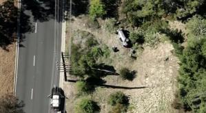 Vista aérea: Las imágenes que muestran la gravedad del accidente que sufrió Tiger Woods (VIDEOS)