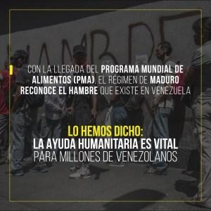 Con la llegada del Programa Mundial de Alimentos de la ONU, el régimen reconoce que hay hambre en Venezuela